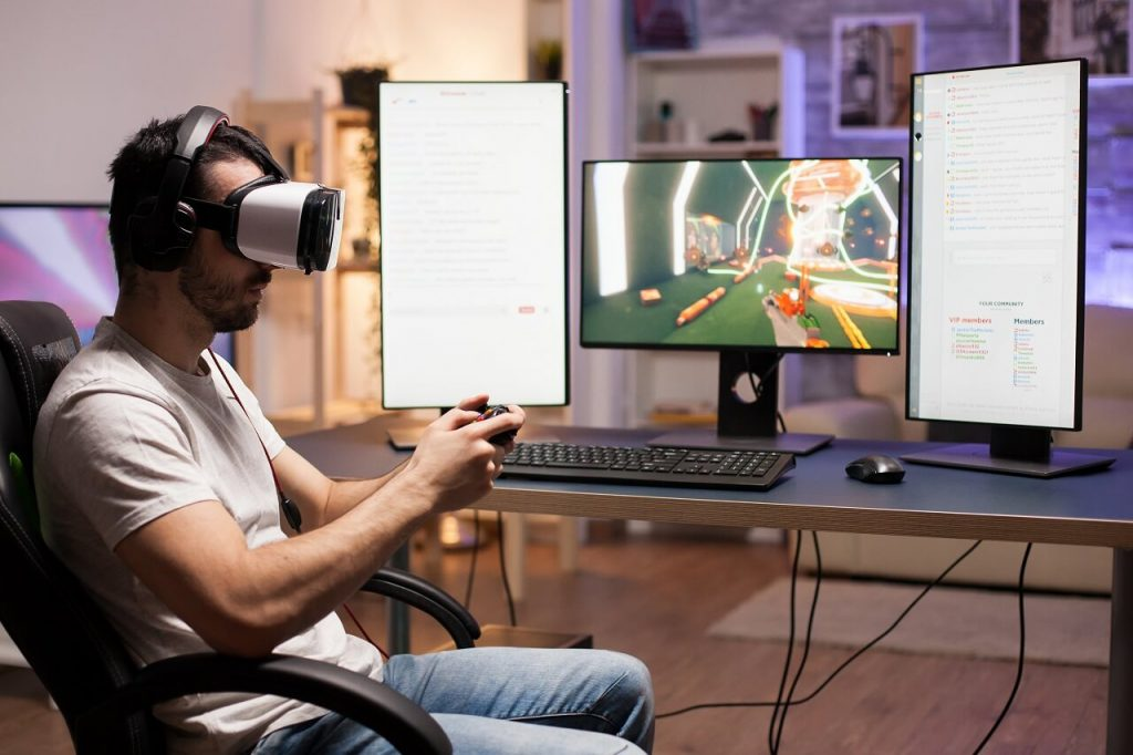 professional gaming engineer working at home